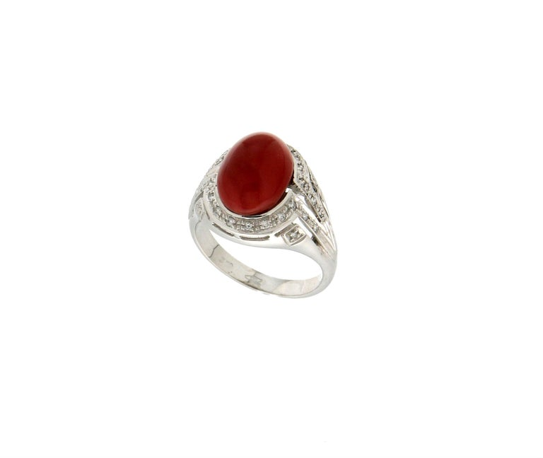 Brilliant Cut Handcraft Sardinian Coral 18 Karat White Gold Diamonds Cocktail Ring For Sale