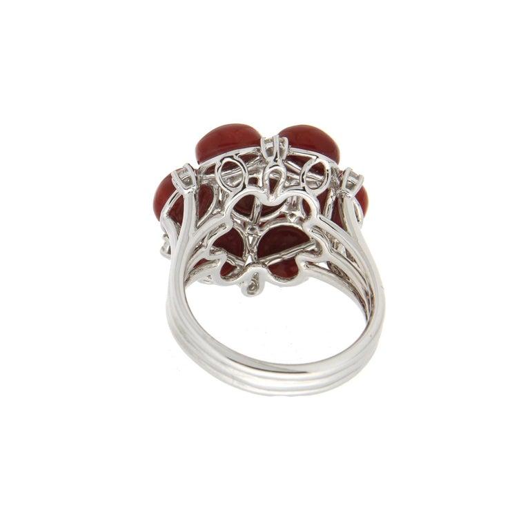 Women's or Men's Handcraft Sardinian Coral 18 Karat White Gold Diamonds Cocktail Ring For Sale