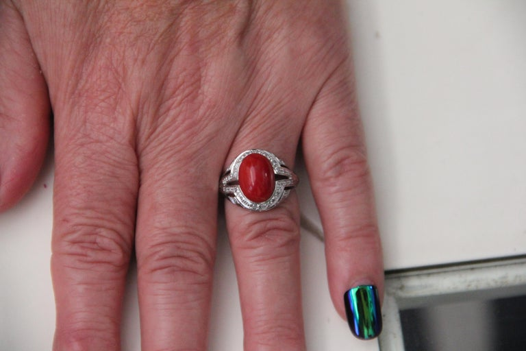 Handcraft Sardinian Coral 18 Karat White Gold Diamonds Cocktail Ring For Sale 1