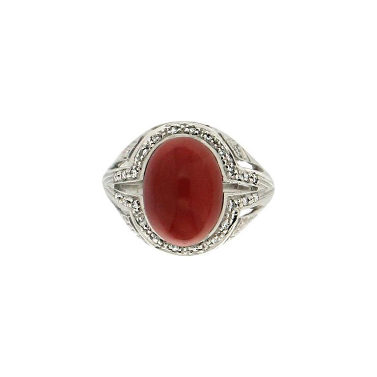Handcraft Sardinian Coral 18 Karat White Gold Diamonds Cocktail Ring For Sale