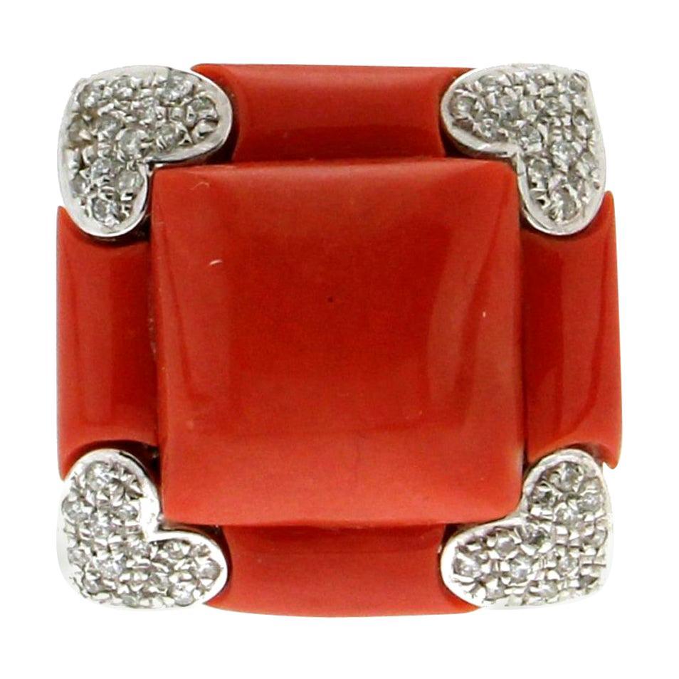 Handcraft Sardinian Coral 18 Karat White Gold Diamonds Cocktail Ring