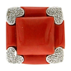 Handcraft Sardinian Coral 18 Karat White Gold Diamonds Cocktail Ring