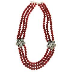 Handcraft Sardinian Coral 18 Karat White Gold Tahiti Pearls Choker Necklace