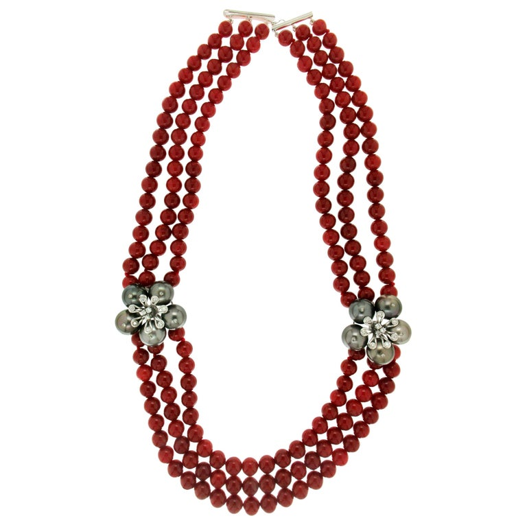 Freshwater Pearls Vintage Mediterranean Coral Necklace Natural Genuine Angel Face Coral 14K Gold-Filled Clasp -Spring Colors