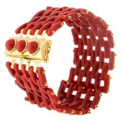 Handcraft Sardinian Coral 18 Karat Yellow Gold Cuff Bracelet