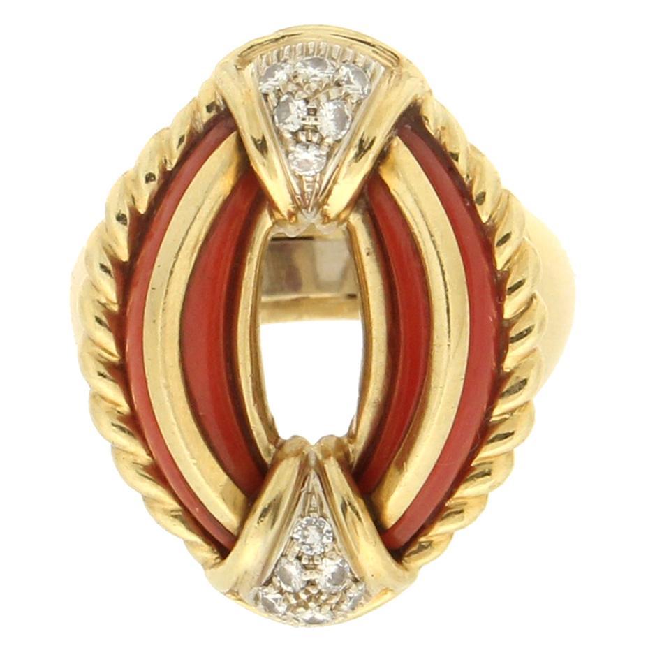 Handcraft Sardinian Coral 18 Karat Yellow Gold Diamonds Cocktail Ring