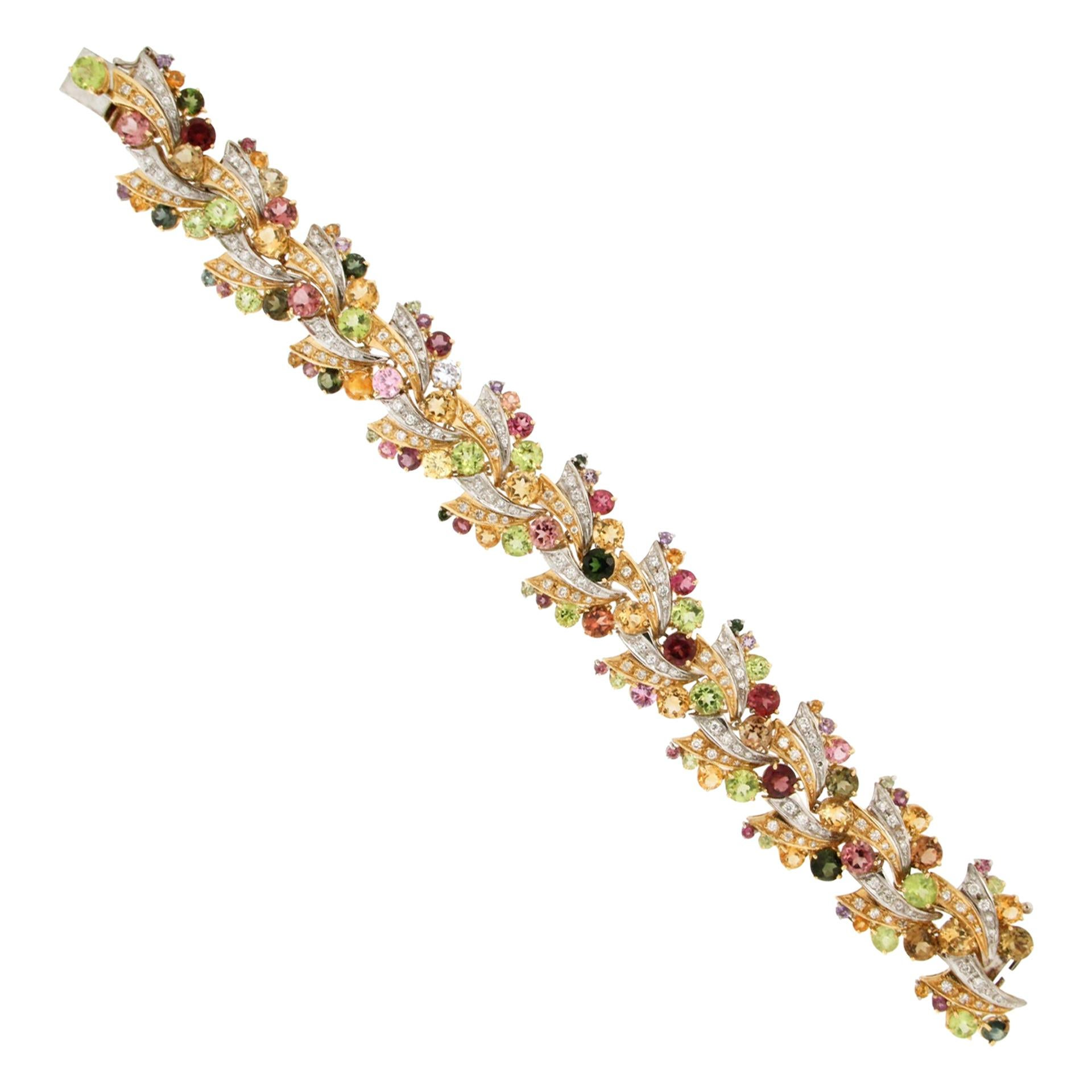 Handcraft Semiprecious Stones 18 Karat Yellow Gold Diamonds Cuff Bracelet