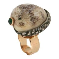 Handcraft Shell 14 Karat Yellow Gold Rose Cut Diamonds Cocktail Ring
