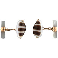 Handcraft Shells 18 Karat Yellow Gold Mother of Pearl Barrels Cufflinks