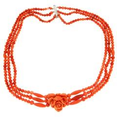 Handcraft Sicily Coral 18 Karat White Gold Choker Necklace