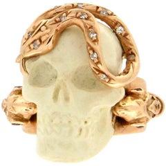 Handcraft Skull 14 Karat Yellow Gold Diamonds Cocktail Ring