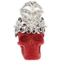 Handcraft Skull 18 Karat White Gold Diamonds Sapphires Pendant Necklace
