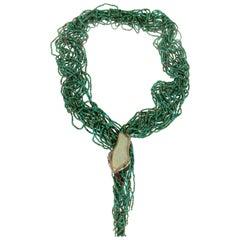 Handcraft Snake 14 Karat Gold Opal Diamonds Turquoise Tourmaline Drop Necklace