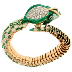 Handcraft Snake 14 Karat Yellow Gold Diamonds and Enamel Cuff Bracelet