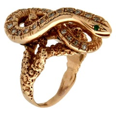 Handcraft Snake 14 Karat Yellow Gold Diamonds Cocktail Ring