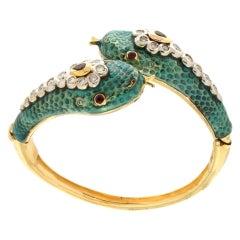 Handcraft Snake 14 Karat Yellow Gold Diamonds Ruby Enamel Cuff Bracelet