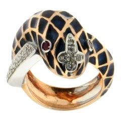 Handcraft Snake 18 Karat Yellow and White Gold Diamonds Cocktail Ring