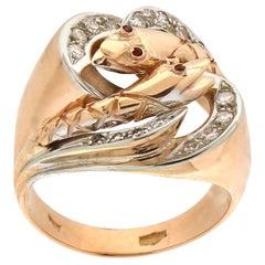 Handcraft Snake 18 Karat Yellow and White Gold Diamonds Ruby Cocktail Ring