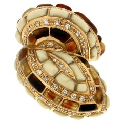 Handcraft Snake 18 Karat Yellow Gold Diamonds and Agate Cocktail Ring
