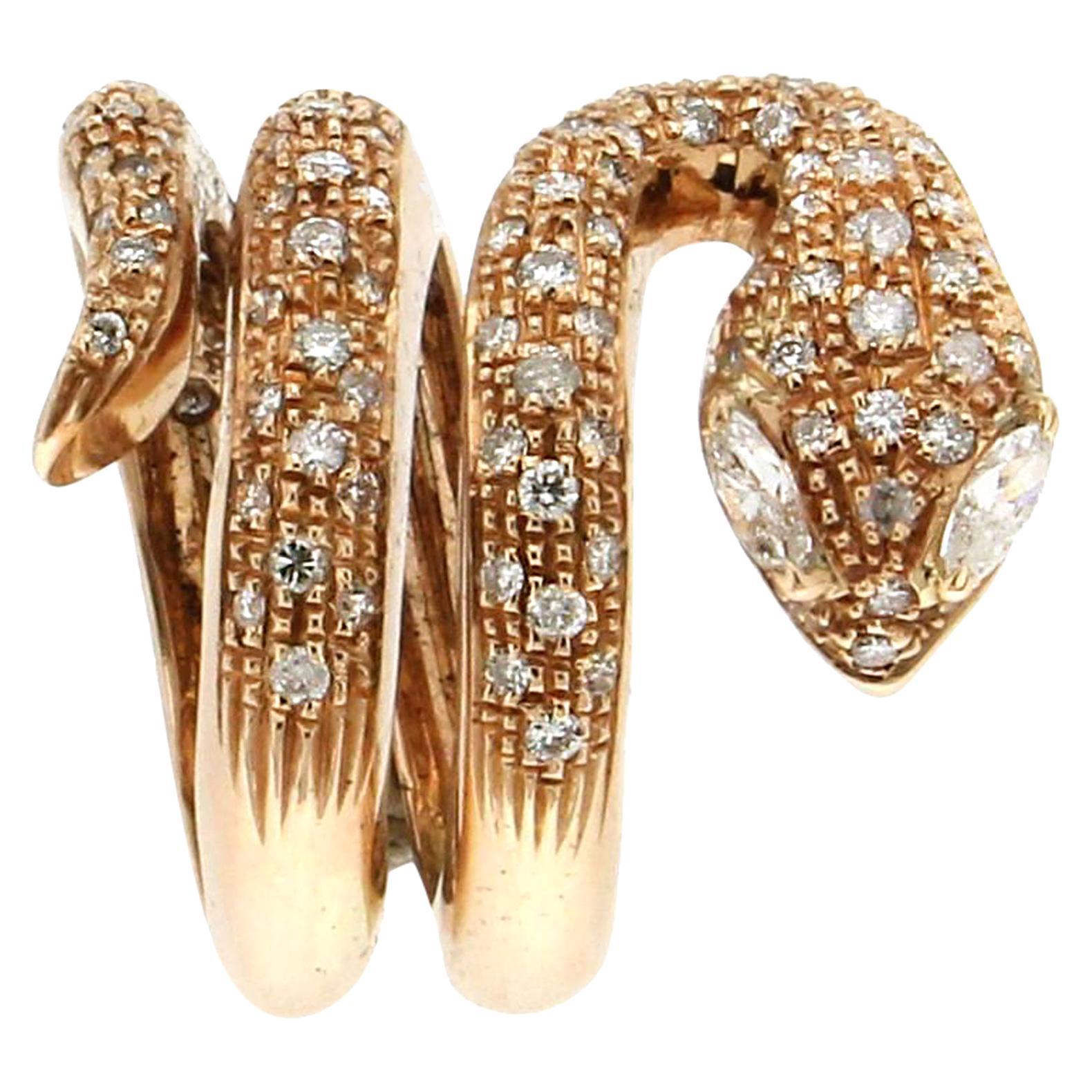 Handcraft Snake 18 Karat Yellow Gold Diamonds Cocktail Ring