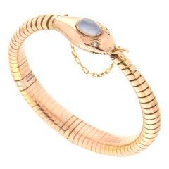 Handcraft Snake 9 Karat Yellow Gold Diamonds Chalcedony Tubogas Bracelet