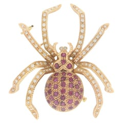 Handcraft Spider 18 Karat Yellow Gold Diamonds and Ruby Brooch