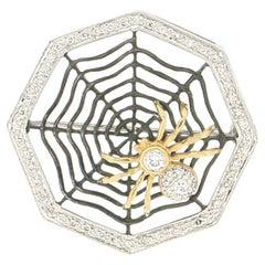 Handcraft Spider Web 18 Karat White and Yellow Gold Diamonds Brooch