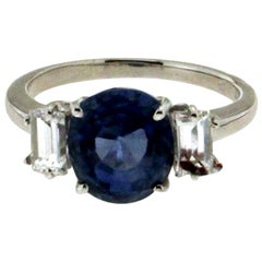 Handcraft Sri Lankan Sapphire 18 Karat White Gold Diamonds Engagement Ring