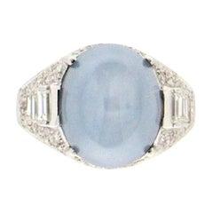 Handcraft Star Sapphire 18 Karat White Gold Diamonds Cocktail Ring