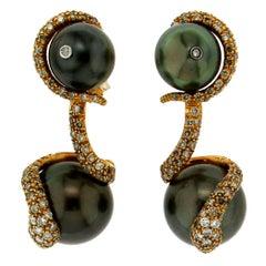 Handcraft Tahiti Pearl 18 Karat Yellow Gold Diamonds Drop Earrings