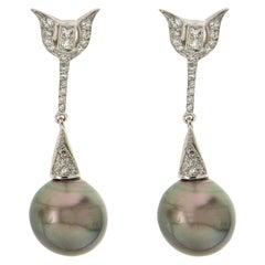Handcraft Tahiti Pearls 18 Karat White Gold Diamonds Drop Earrings