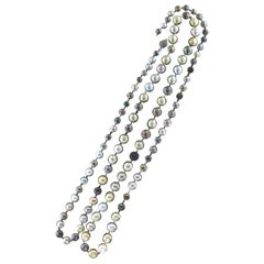 Handcraft Tahitian and Australian Pearls 18 Karat White Gold Beaded Necklace