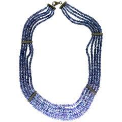 Handcraft Tanzanite 18 Karat White Gold Choker Necklace