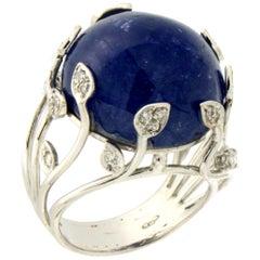 Handcraft Tanzanite 18 Karat White Gold Diamonds Cocktail Ring