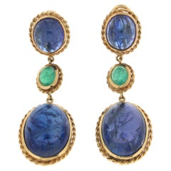 Handcraft Tanzanite 18 Karat Yellow Gold Emeralds Drop Earrings