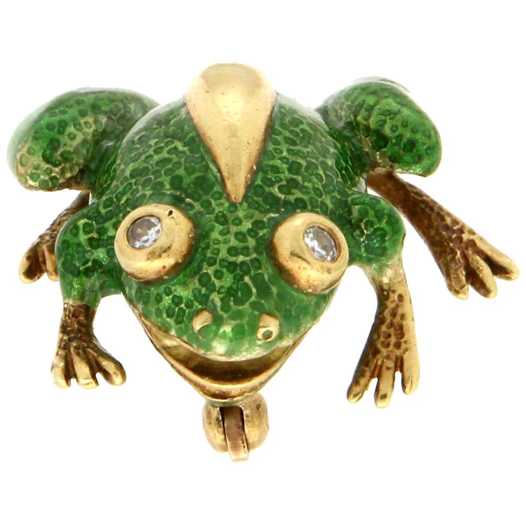 Handcraft Tiffany & Co. Frog 18 Karat Yellow Gold Diamonds Enamel Brooch