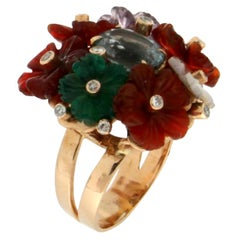 Handcraft Topaz 14 Karat Yellow Gold Flowers Stones and Diamonds Cocktail Ring