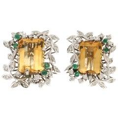Handcraft Topaz 18 Karat White Gold Diamonds Emeralds Stud Earrings