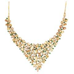 Handcraft Topaz 18 Karat Yellow Gold Diamonds Emeralds Choker Necklace