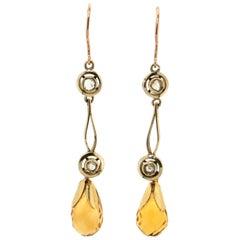 Handcraft Topaz 9 Karat Yellow Gold Drop Earrings