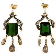 Handcraft Tourmaline 14 Karat Yellow Gold Diamonds Drop Earrings