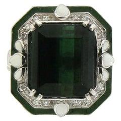 Handcraft Tourmaline 18 Karat White Gold Diamonds Cocktail Ring
