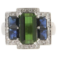 Handcraft Tourmaline 18 Karat White Gold Sapphires Diamonds Cocktail Ring