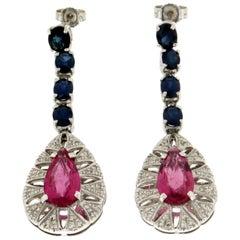 Handcraft Tourmaline 18 Karat White Gold Sapphires Diamonds Drop Earrings