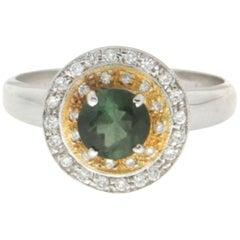 Handcraft Tourmaline 18 Karat Yellow and White Gold Diamonds Cocktail Ring