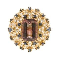 Handcraft Tourmaline 18 Karat Yellow Gold Diamonds Sapphires Cocktail Ring