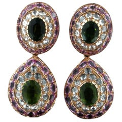 Handcraft Tourmaline 18 Karat Yellow Gold Sapphires Diamonds Drop Earrings