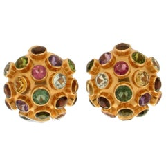 Handcraft Tourmaline 18 Karat Yellow Gold Stud Earrings