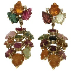 Handcraft Tourmaline Leaves 14 Karat Yellow Gold Diamonds Drop Earrings