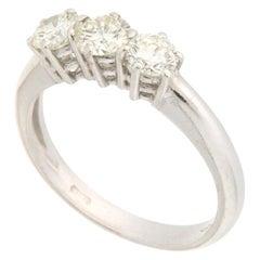 Handcraft Trilogy Diamond 18 Karat White Gold Engagement Ring